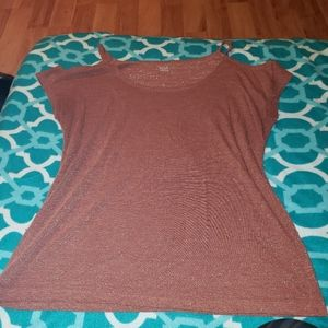 ANA SIZE XL DARK PINK SPARKLY CUT OUT SHOULDER TOP